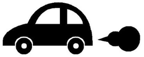 排気ガスと車の写真